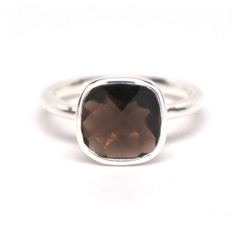 Smokey Quartz Square Silver Ring