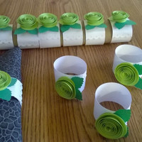 Neon Green wedding flowers Roses white Napkin rings table decoration paper flowers Bridal Shower Decor single rosette cloth napkin holder