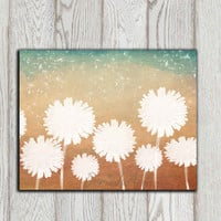 Dandelion Wall decor Dandelion art print Dandelion poster White flowers Copper brown teal home decor Flower Wall art Gift INSTANT DOWNLOAD