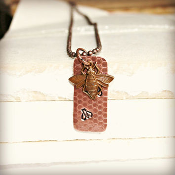 Etched Copper Pendant with Honeycomb Pattern, Stamped Bee Designs and Bee Charm on Antiqued Copper Ball Chain