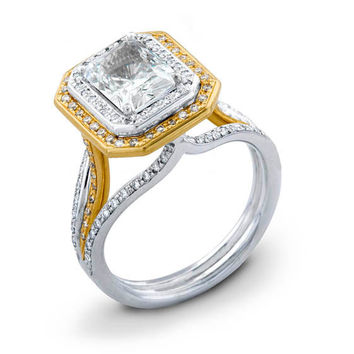 Ladies 18kt double row pave diamond engagement ring 0.40 ctw G-VS2 diamonds with White Sapphire Center
