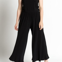 Vintage 90s Black Wide Leg and Cropped Leg Summer Jumpsuit | M