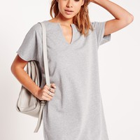 Missguided - Short Sleeve Plunge Shift Dress Grey