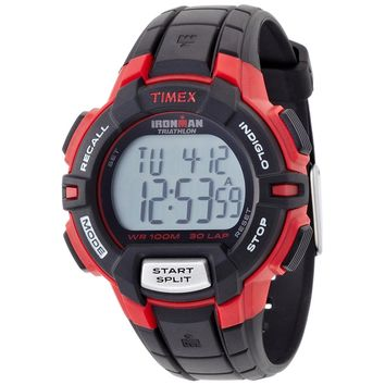 Timex T5K792 Men's Ironman Triathlon Indiglo 30-Lap Rugged Chronograph Grey Digital Dial Black Resin Strap Watch