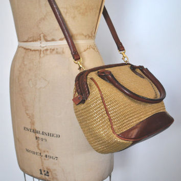 Woven Straw and Leather Purse Bag / Etienne Aigner tote