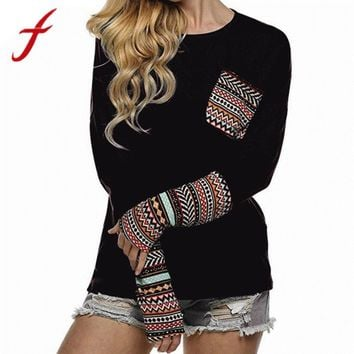 Feitong Women's T Shirts Fashion Boho Casual Patchwork Pocket Loose T-shirts Tops With Thumb Holes Femme poleras de mujer 2017