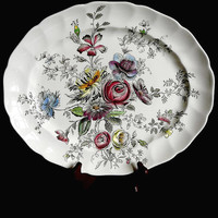 Vintage, Floral Center, Oval Platter, Scalloped Rim, Pattern Sheraton, By Johnson Bros., Made in England