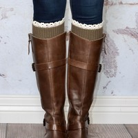 Brown Knitted Boot Cuffs with Lace Trim