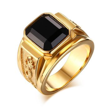YEACI Retro Style Stainless Steel Dragon Totem Ring For Men Glass Stone Party Wedding Rings 5 color Free Fhipping RC-183