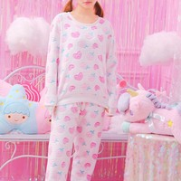 Japanese sweet Strawberry heart pastel two pieces suit YV2404