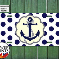 Ship Anchor Nautical Polka Dot Pattern Cute Navy Sailor Cute Custom Tag For Front License Plate Car Tag One Size Fits All Vehicle Custom
