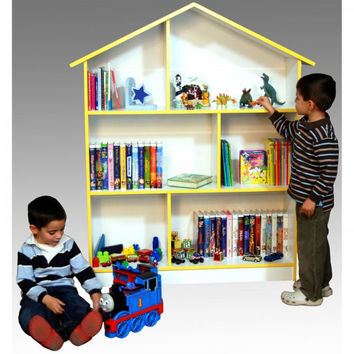 """Kids' Bookcase and Dollhouse (White) (55""""h x 45""""w x 12""""d)"""
