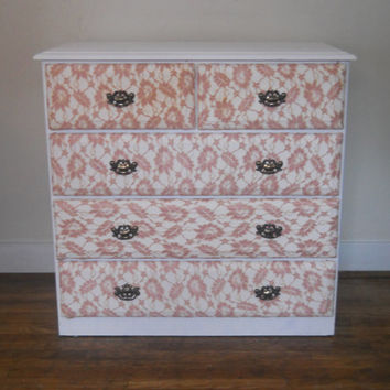 Up-cycled Shabby Chic Distressed Lace Drawer Dresser