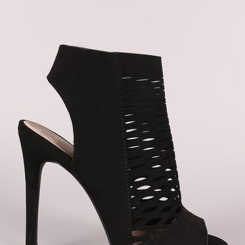 Qupid Suede Perforated Stiletto Mule Heel
