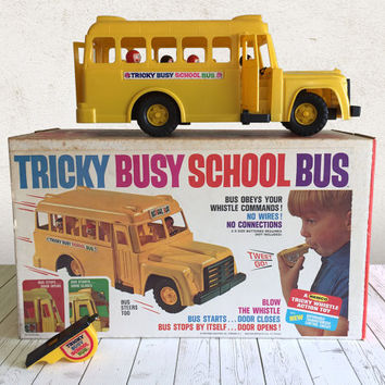 Vintage Bus Toy 1964 Tricky Busy School Bus with Whistle and Box by Remco / Retro Boxed Baby Boomer Battery Operated Toy