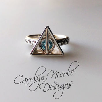 Circle in Triangle Engagement Ring (CZ) by Carolyn Nicole Designs