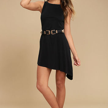 Deep in Thought Black Shift Dress