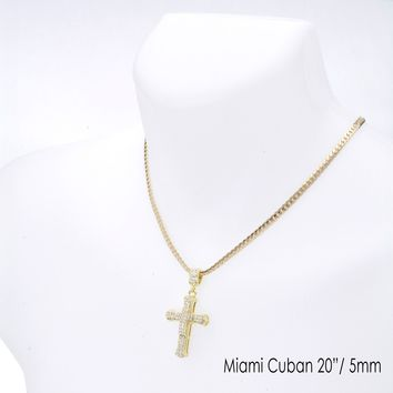 "Jewelry Kay style Men's CZ Stoned Cross Pendant 20"" / 24"" Miami Cuban Chain Necklace MCP 1136 G"