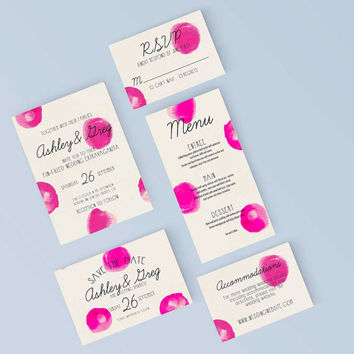 Printable Wedding Save the Date - Modern Pink Paint Polka Dot Invite - DIY Digital Ready to Print Invitation