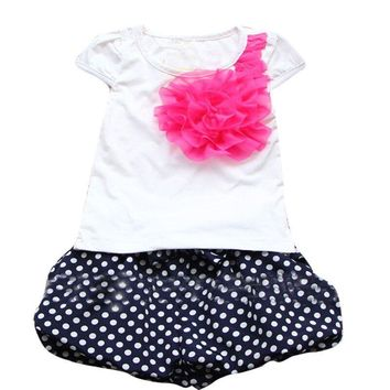Summer New Children Girl's 2PC Sets Suit baby Clothing sets flowers t shirt + dots pants girls clothes