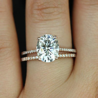 Blake 14kt Rose Gold Oval FB Moissanite and Diamonds Cathedral Wedding Set (Other metals and stone options available)