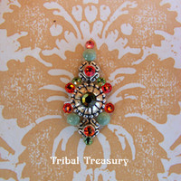 Green & orange tribal bindi