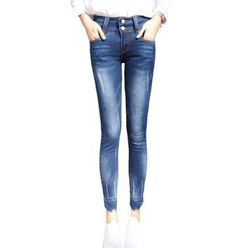 2017 New Fashion Women Jeans High-waist Regular Pencil Pants Casual Skinny Slim Elastic Denim Pants Korean Style Femme Trousers