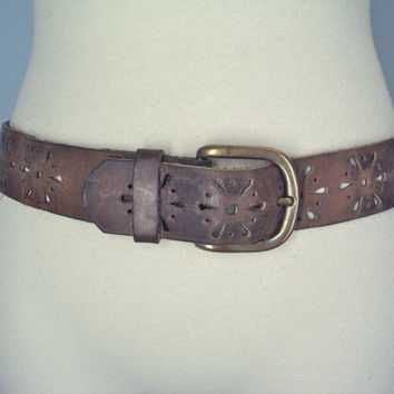 Vintage Distressed Leather Belt / 1970s Brown  Boho Leather Belt / Flower Punched Belt / Small Extra Small