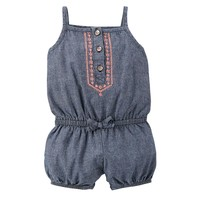Carter's Embroidered Chambray Romper - Baby Girl, Size:
