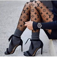 LV Sock Louis Vuitton Panty-hose Newest Fashionable Women Sockings Long Socks