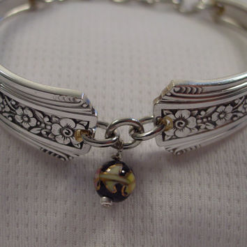 Beautiful Spoon Handle Bracelet Fortune Pattern With Flowers and Cloisonne Bead Vintage Handmade Spoon and Fork Jewelry b114