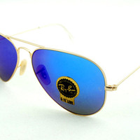 Ray ban Aviator Blue flash lens gold RB3025 Sunglasses