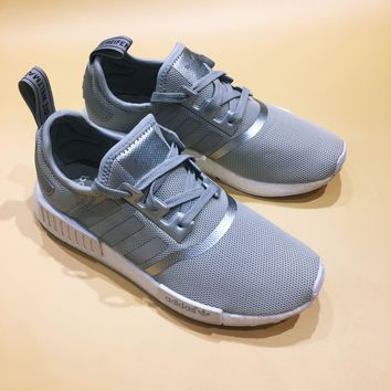 Adidas NMD R1 Boost Silver Reflective Fashion Trending Running Sports Shoes Sneakers (