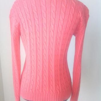 Ralph Lauren Vintage 90's Bright Pink 100% Cotton Ribbed long sleeved women's Sweater
