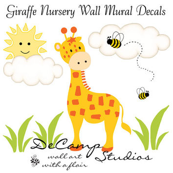 GIRAFFE WALL MURAL Decal Baby Boy Nursery Kids Room Childrens Jungle Safari Bedroom Woodland Playroom Bee Stickers Art Decor