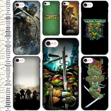 Teenage Mutant Ninja Turtles TMNT Black Scrub Case Cover Shell for iPhone Apple 4 4s 5 5s SE 5c 6 6s 7 Plus