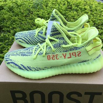 Sale Kanye West x Adidas Yeezy 350 V2 Boost Semi Frozen Yellow Sport Shoes  Running Shoes ea4e4e11fc