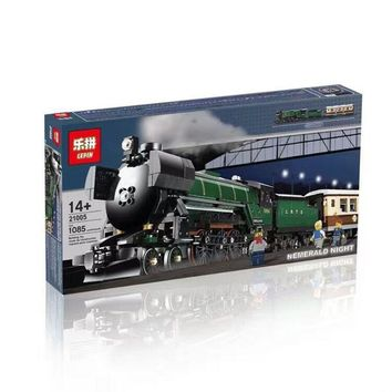 Creative high-tech series jade night steam locomotive 10194 assembled lego toys