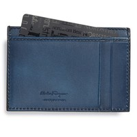Men's Salvatore Ferragamo 'Nikos' Leather Card Case - Blue