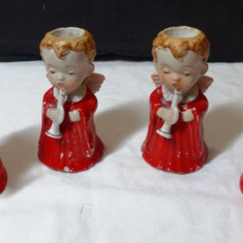 1953 Vintage Christmas Ceramic  Angel Candle Holders - Set of 4 - H. I. Co. Made in Japan