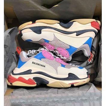 Balenciaga Trending Women Men Shoes Classic Triple Sneaker Grey pink blue
