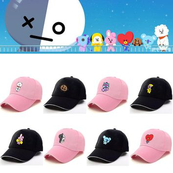 Bangtan Boys Cartoon BT21 Printed Cap Kpop BTS Blackpink Snapback Hat ARMY Unisex Peaked Cap Casual Harajuku Fashion Trucker Cap