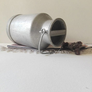 Farm, metal, bucket, Aluminium, Vintage milk, can, kitchen decor, french vintage, garden decor, rustic decor, farmhouse decor, farm house,