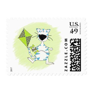 Cute Blue and White Cartoon Cat with Green Kite Postage