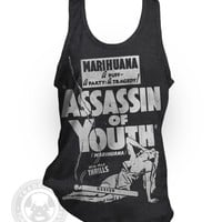 Vintage 30's Assassin of Youth B Movie Marijuana pot movie poster American Apparel TR408 Tri-Blend Tank Top A-Shirt from Tuffy McPuggles