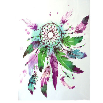 2016 NEW Fashion 21 X 15 CM Waterproof Hot Temporary Tattoo Stickers Green and Purple Feathers Dreamcatcher
