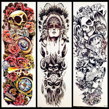 Hot Indian Warrior Big Full Arm Temporary Tattoo Sticker GQSQ30 Men Women Water Transfer Fake Tattoo Sleeve Shoulder Skull Totem