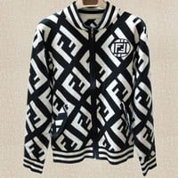 FENDI Autumn Winter Classic Fashion Women Double F Letter Jacquard Knit Zipper Cardigan Jacket Coat