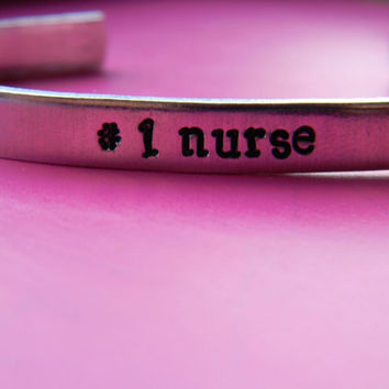 number one nurse bracelet 1/4 inch wide