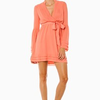 ROREY WRAP DRESS IN CORAL